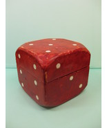 Giant Lord & Taylor Department Store Red Leather Dice Box Made in Italy ... - $235.65