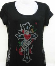 S M L  Faith Heart Cross Embellished Lace Side T-Shirt Tunic Top Western... - $19.99
