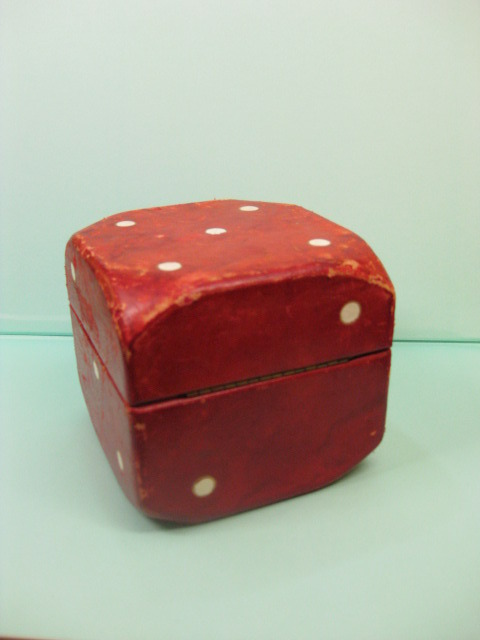 Giant Lord & Taylor Department Store Red Leather Dice Box Made in Italy # 173  c