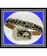 XS S M $79 Black Cross Leopard Western Buckle Cowboy Girl Belt Goth Bike... - $69.99