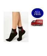 HUE Women's Super Soft Cropped Socks Black Multi Argyle One Size - NWT - $5.86