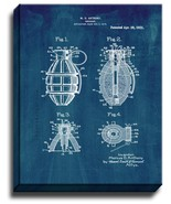 Grenade Patent Print Midnight Blue on Canvas - $39.95 - $159.95
