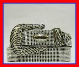 XS S M L XL  Full Rhinestone Lace Zebra Buckle Western Black Cowboy Girl... - $74.99