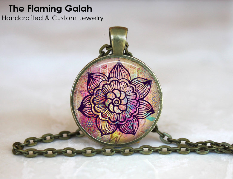 PINK MANDALA FLOWER Pendant. Boho Traveller. Necklace / Key Ring. Gift Under 20.