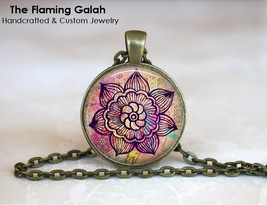 PINK MANDALA FLOWER Pendant. Boho Traveller. Necklace / Key Ring. Gift U... - $13.00