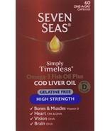 Oil Plus 3 Omega Fish Cod Liver Capsules Strength Gelatine Free 60 Multi... - $15.53