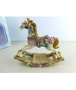 Collectable Rocking Horse Floral Figurine Hand Painted - $14.69