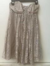 Express Womens Silver Strapless Silk Dress Sheer Zebra Ruffle Knee Length Size 0 - $18.95