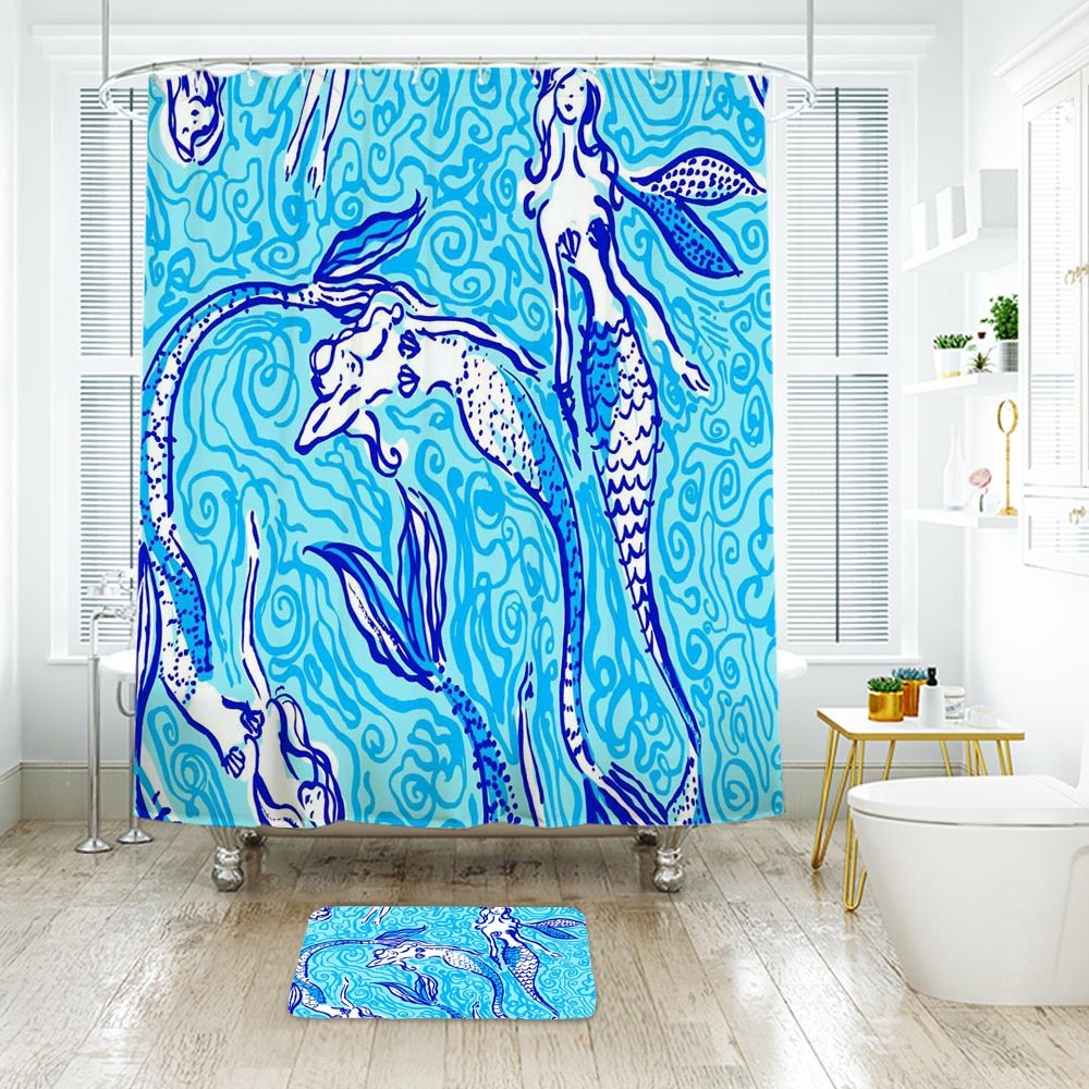 Primary image for Flower Lilly Nicetail Mermaid Shower Curtain Waterproof & Bath Mat For Bathroom