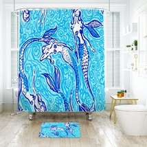 Flower Lilly Nicetail Mermaid Shower Curtain Waterproof & Bath Mat For Bathroom image 1