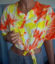 NEW M medium Orange Yellow Tie Dye T-Shirt Woman Waist Tie pullover Shir... - $14.99