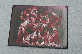"""VINTAGE COMPLETED NEEDLEWORK EMBROIDERY DOGS PUPPY ART DECO 12"""" X 16"""" - £30.92 GBP"""