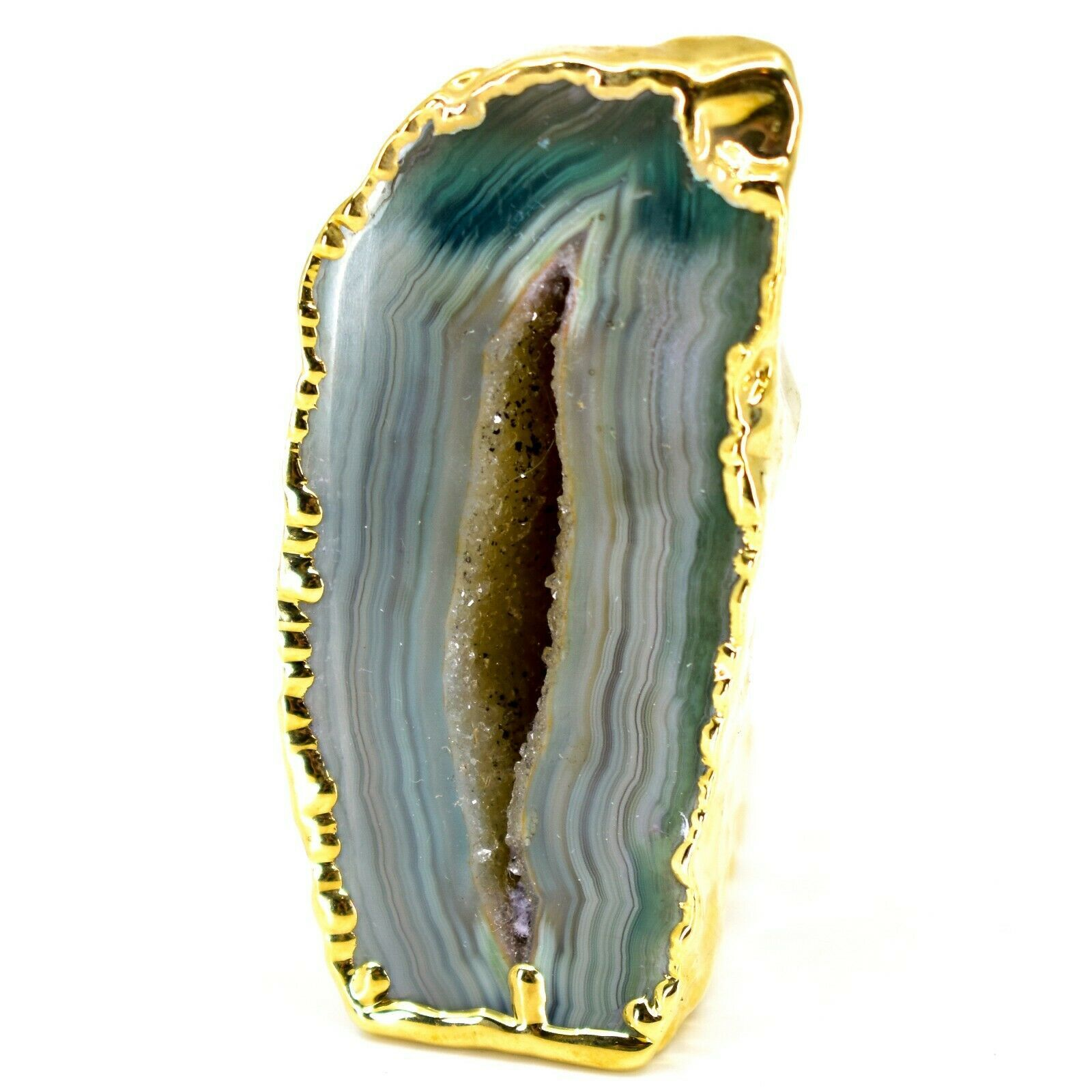 """Teal Blue Dyed Polished Agate Stone Gilded Gold 2"""" Paperweight Display Rock"""