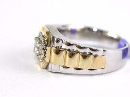 1 Ct Diamond 14k Two Tone Gold Over 925 Fine Square Cluster Men's Ring  - $189.99