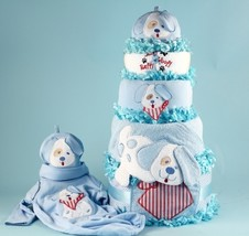 Happy As A Puppy Diaper Cake Baby Boy Gift - $148.00