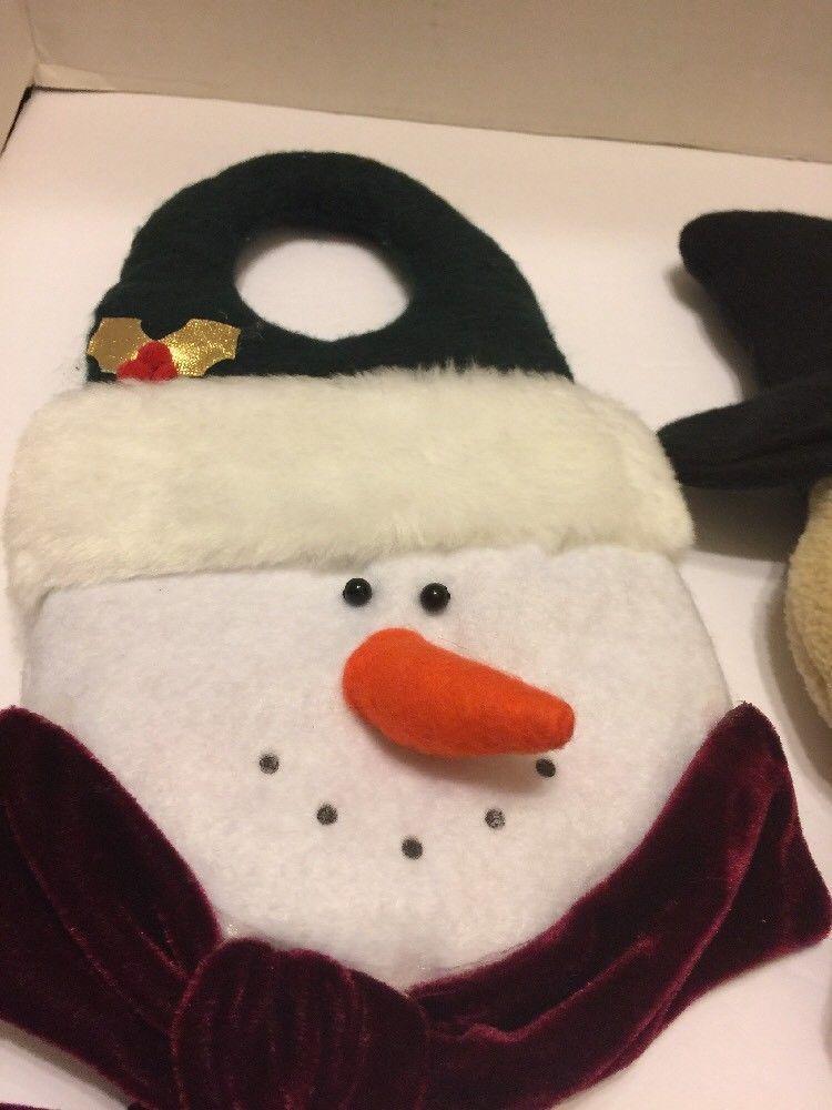 "Wall Decor 2 Santa 16""And Snowman 17"" Hung On Wall Or Door Knob Cute New"