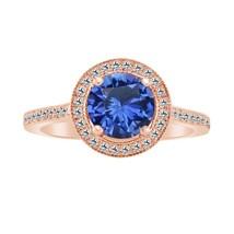 1.35 Carat Blue Sapphire & Diamond 14k Rose Gold Over Wedding Ring - $79.99