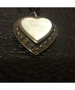 Vintage white Mother of Pearl with marcasites and sterling - $21.84