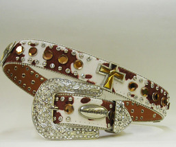 S M L X HAIR Cowpatch LEATHER AMBER BROWN CROSS Rodeo Buckle Western Cowgirl Boy - $69.29
