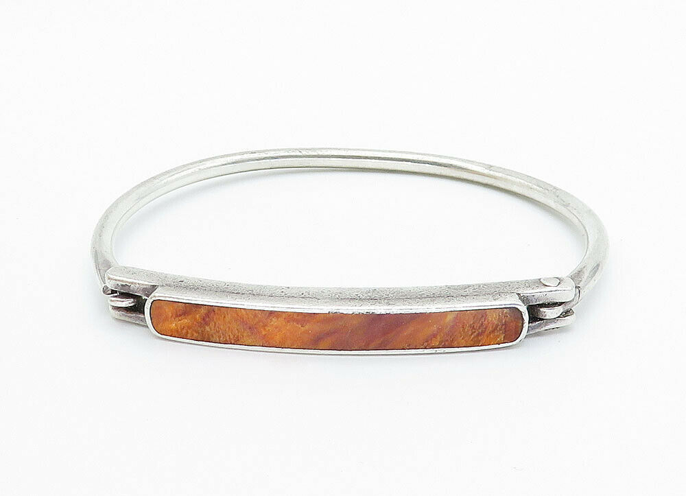925 Sterling Silver - Vintage Jasper Inlay Smooth Petite Bangle Bracelet - B5957