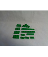 LEGO 12 Piece Lot  Assorted Sizes Grass Green Flat Parts & Pieces - $1.85