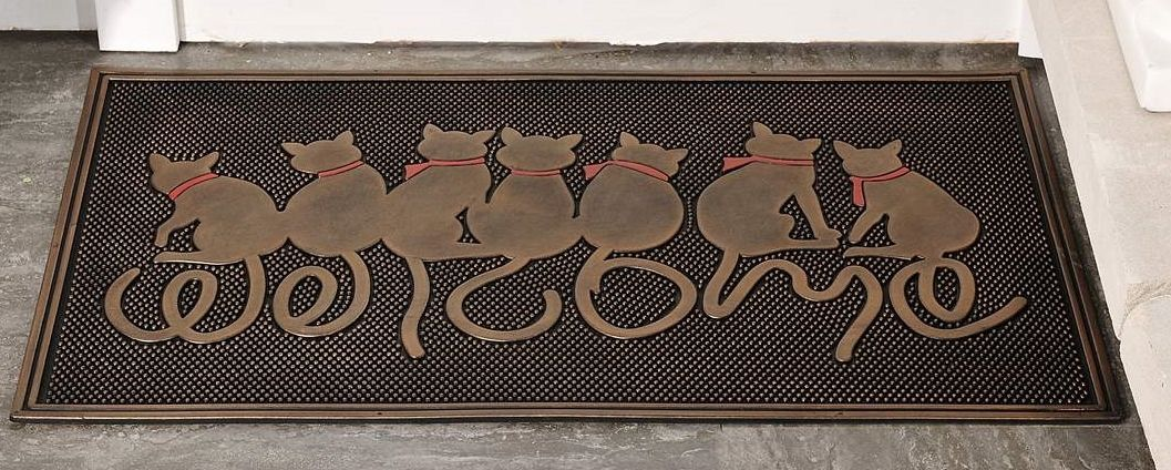"7 Cat Design Rubber Doormat With Welcome Sentiment 30"" x 18"" NEW"