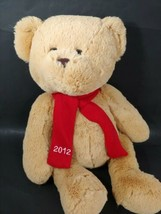 Kohls 2012 Plush tan honey golden brown teddy bear red 2012 scarf seated... - $19.79