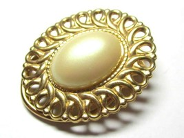 Vintage Gold Toned Scarf Clip Faux Pearl Cabochon Metal Edge Loop Detail... - $11.87