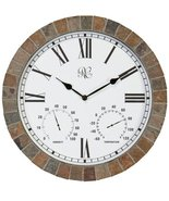River City Clocks 15 Inch Indoor/Outdoor Tile Clock with Time, Temperatu... - $143.95