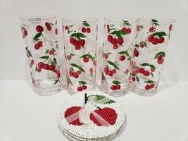 "Set of 4 ~ Mosser Glass~ Flat Tumbler Glasses ~Cherry Thumbprint Pattern 4"" tall - $59.99"