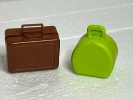 1971 Busy Hands Barbie Brown Suitcase & Vintage Green Case Doll Accessories - $12.82