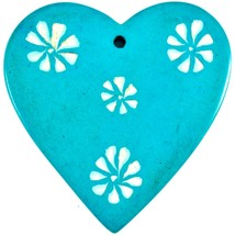 Tabaka Chigware Hand Carved Kisii Soapstone Light Blue Heart Stone Ornament image 2