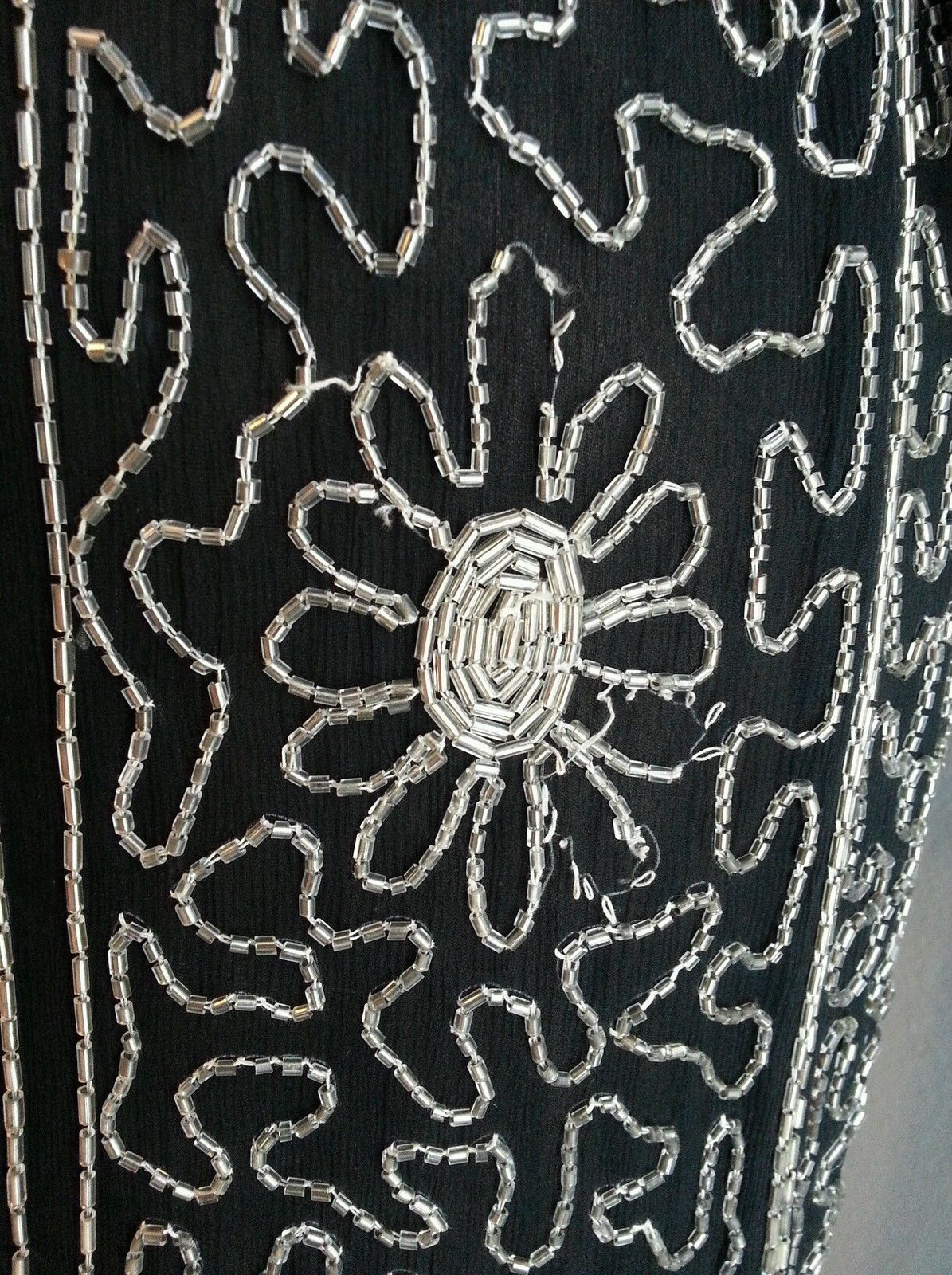 Vtg Floral Stripe Black Silver 80's does 20's Beaded Silk Trophy Dress S