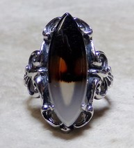 Clark & Coombs 925 Sterling Silver TREE Picture Moss Agate Sz 6 Ring Nou... - $149.99