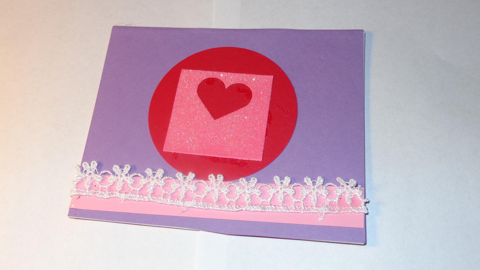 Single Purple cardstock heart flat mattboard card with lace
