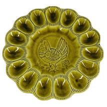 California Pottrey Deviled Egg Plate Platter Green S 29 Vintage Made USA... - $28.50