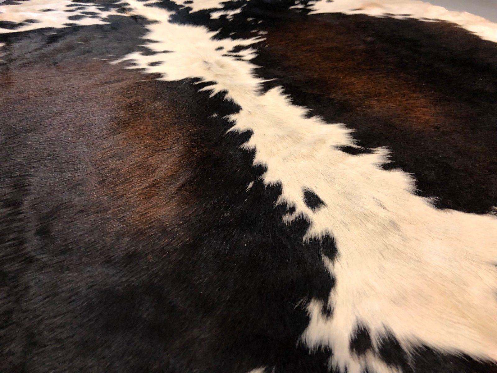 Medium Tricolor Cow hide Rug Natural Hair on Cowhide Print Skin Area Rug 22 sqft