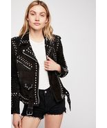 New Woman Black American Western Silver Studded Suede Leather Jacket Beltet - $269.99