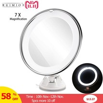 RUIMIO 7X Magnifying Makeup Mirror Cosmetic LED Locking Suction Cup Brig... - $19.75