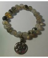 Faceted Glass Stretch Bracelet With Floral Charm - $34.65