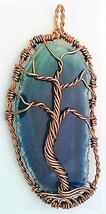 Tree Of Life Agate Copper Wire Wrap Pendant 84 - $10.25