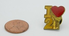 Vintage Late 1970's Early 1980's I Love 2 Screw Red Yellow Enamel Hat Lapel Pin - $5.94