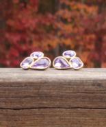Vintage Trifari Amethyst Purple Rhinestone Cyrstal Nugget Cluster Post E... - $48.00