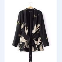 Bird Print Belted Black Blazer Jacket For Women - $34.17