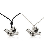 Unique Dove Bird of Peace Silver Pewter Charm Necklace Pendant Jewelry - $7.91+