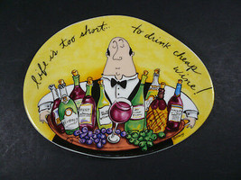 """Life is too short to drink cheap wine! Porcelain wall hanging Mud Pie 5.75"""" - $10.00"""