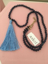 NWT J.Crew Factory Blue Beaded pendant necklace with thread tassel image 1