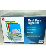 Mesh Desk Organizer All-in-One Wire With Tiered File Holders Whiteboard ... - $23.18