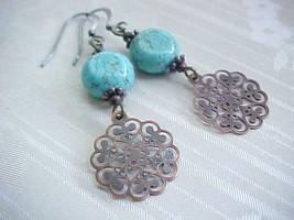 Bohemian Turquoise Earrings Blue Copper Filigree Gypsy Wanderer Wanderlu... - $12.88