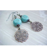 Bohemian Turquoise Earrings Blue Copper Filigree Gypsy Wanderer Wanderlu... - €11,36 EUR